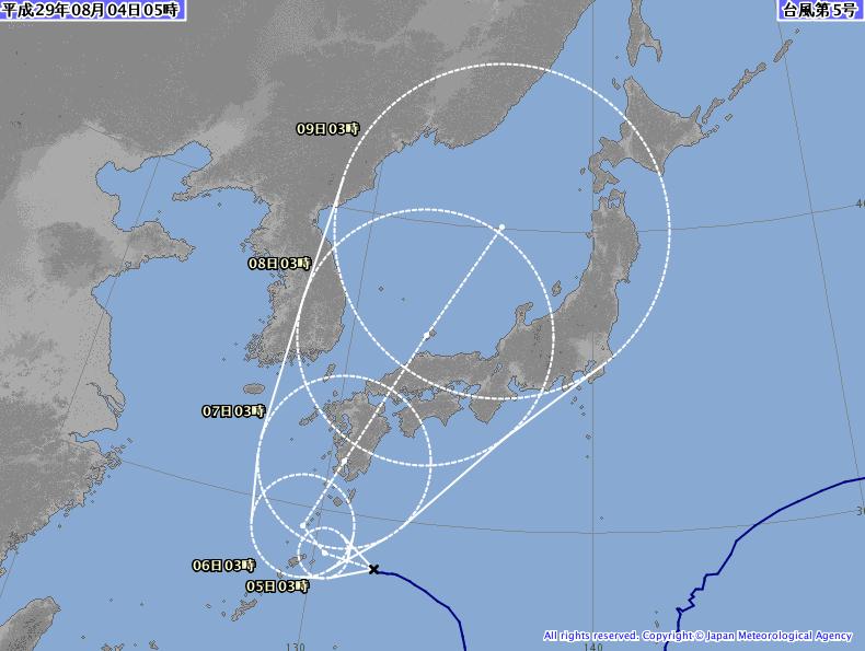 台風5号の予想円